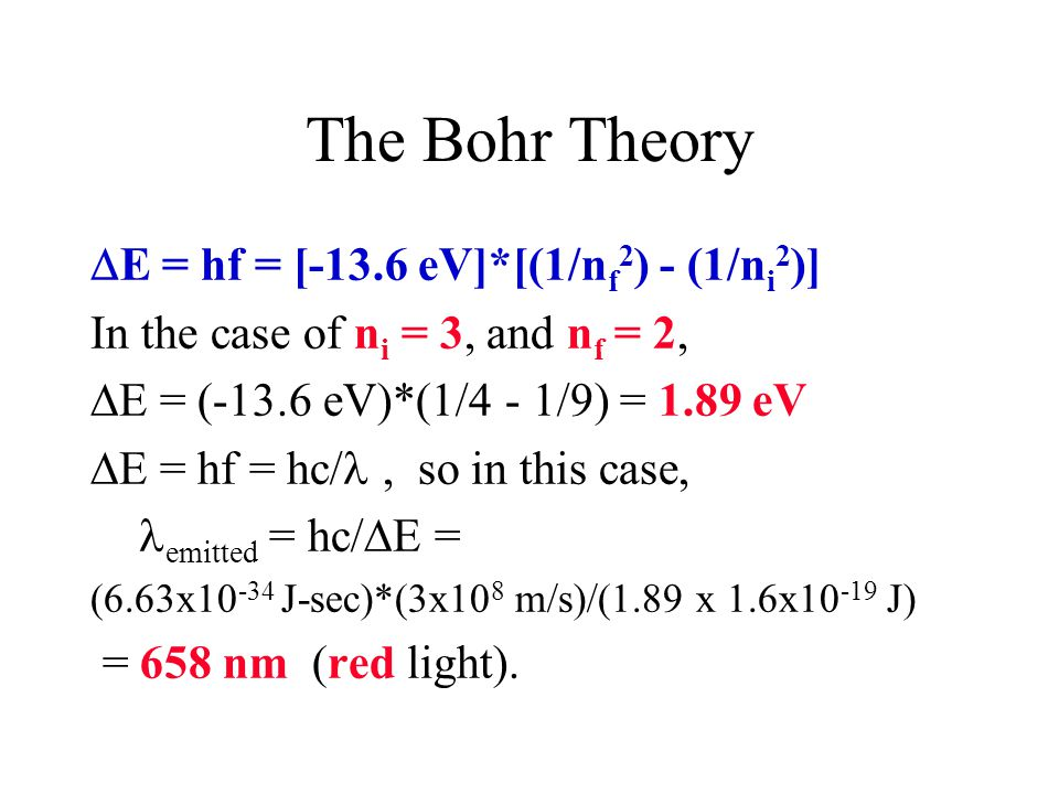 The Bohr Theory E = hf = [-13.6 eV]*[(1/nf2) - (1/ni2)]